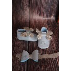Bebe mavi gümüş Kelebek beyaz isimli bebek makosen