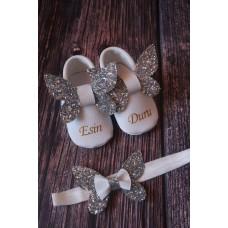 Önden Gümüş Kelebek beyaz isimli bebek makosen